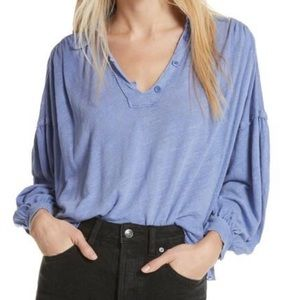 Puffy Sleeved Button Blouse